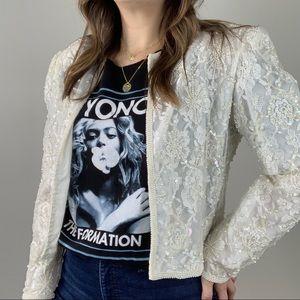Vintage | Lace Pearl Embellished Jacket Cropped L